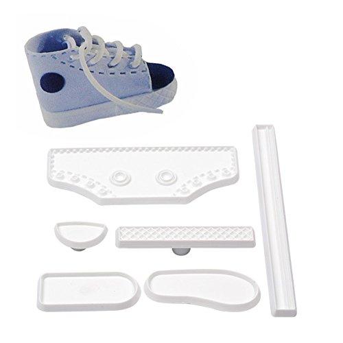 Ckeyin Fondantform für Baby-Sneaker, Schuhform, Backzubehör, Kuchendekoration, Farbe: Weiß, 6 Stück
