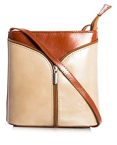 Big Handbag Shop Borsetta piccola a tracolla, vera pelle italiana Medium Taupe & Medium Tan