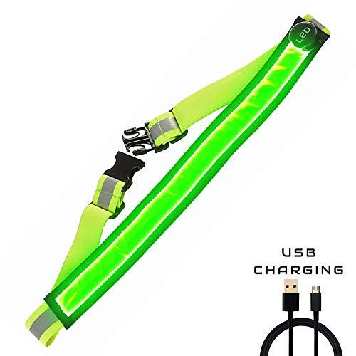 AGPTEK LED Reflektierender Gürtel USB aufladbare LED - Hohe Sichtbarkeit für Laufen Wandern Radfahren - Passend für Frauen, Männer und Kinder - Verstellbare und Leicht - sicherer als reflektierende (Grün)