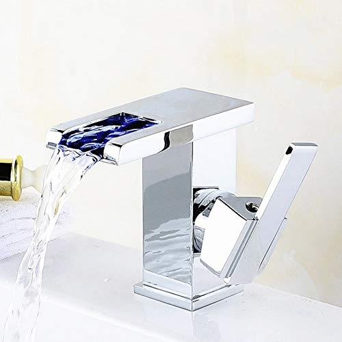 Floungey Badinstallationen Waschtischarmaturen Küchenarmaturen Led Kupferne Beckenhahn, Wasserfallhähne Mit Led-Lichtern, Led-Lichtmischer, Led-Wasserhahnhahnleuchten