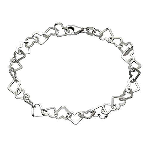 Damen 10 mm breit Versprechen der Liebe 925 Silber ausgehöhlten Herz Link Kette Paar Armband 20cm, Armband Charm Club circa- handgefertigt, gehämmert (Bedeutung Alte Von Halloween)