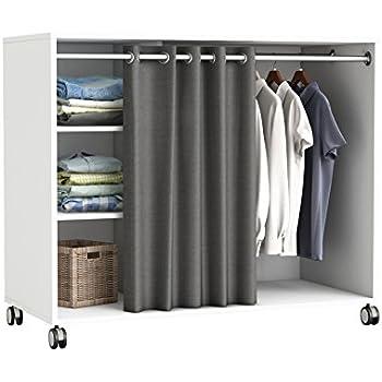 habeig Kleiderschrank auf Rollen #5318 weiß Schrank Vorhang begehbar Kommode Garderobe