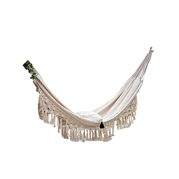 DOITOOL Hammock Boho Tassel Double Hammock Two Person Bed for Backyard Porch Outdoor Indoor DOITOOL Lightweight, easy to carry and use. Perfect for relaxing yourself during outdoor activities, such as camping, traveling, backpacking, etc. Made of high quality material, durable and safe to use. 1