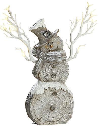 dekojohnson LED-Schneemann-Deko Weihnachtsdeko mit Timer-Funktion in Holzscheit-Optik grau braun 38cm groß aussen innen