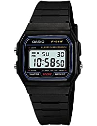 Casio Collection – Unisex-Armbanduhr mit Digital-Display und Resin-Armband – F-91W-1YER