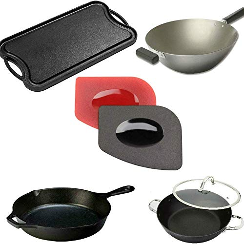 H.Yue Pan Scrapers 6 Pack Durable Grill Pan Scrapers with Silicone Hot Handle Holder for Cast Iron Grill Pans, Baking Griddle Cookware Skillets Flexible Pan Scraper