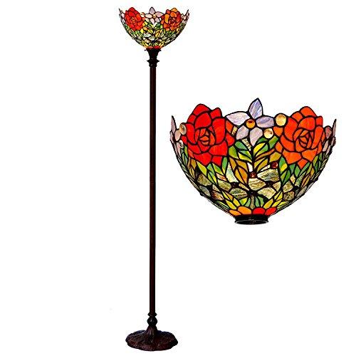 Bieye L30398 Lampadaire Torchiere en verre teinté, style Tiffany, 15 po, Rose, 72 pouces de hauteur