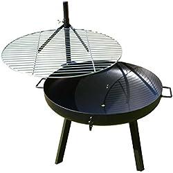 AKTIONA B-Ware Massive 70cm Feuerschale mit Edelstahl Schwenkgrill 60cm + Grillbürste Höhenverstellbar Grill