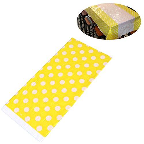 BESTOYARD Cubierta de Mesa desechable del Mantel plástico de la Fiesta de cumpleaños 108 x 180 cm (Amarillo)