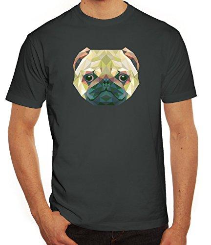 Hundebesitzer Herren T-Shirt mit Polygon Mops Motiv von ShirtStreet Darkgrey