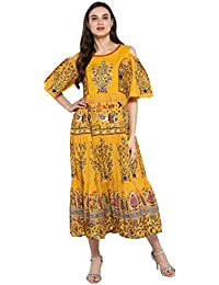Juniper Mustard Cotton Ethnic Print Tiered Anarkali Kurta With Floral Embroidery & Cold Shoulder Sleeves