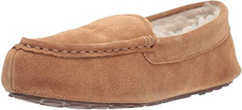 Amazon Essentials Mokassin-Hausschuhe aus Leder, für Damen, Braun(Chestnut), EU 38 - 39