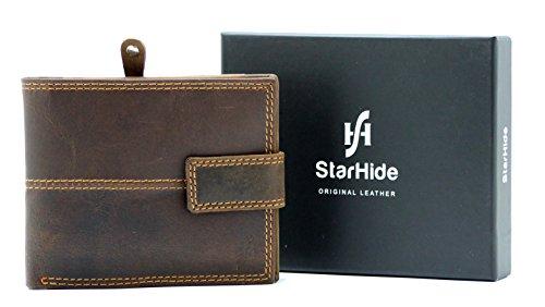 StarHide Männer Braunes Gebeiztes Jäger Leder Geldbörse Mit Sicheren Reißverschluss Münze Tasche & ID Karte Fenster Tasche Geschenkbox - 1044 (Braune Ziege Leder)