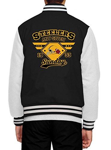 Shirt Happenz any Given Sunday Steelers Collegejacke | American Football | An Jedem Verdammten Sonntag | Super Bowl | Herren | Baseballjacke, Farbe:Schwarz;Größe:XL