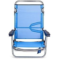 SOLENNY - Silla Marinera plegable para jardín y playa de aluminio, 4 posiciones y asas para el transporte, tejido textiline transpirable en color azul.
