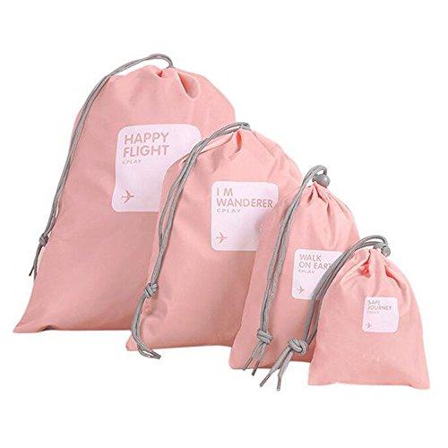 Meijunter Ultra Light Nylon Waterproof Wasserdichtes Portable Travel Storage Bags Lagerung Taschen Drawstring Pouch 4PCS Pink