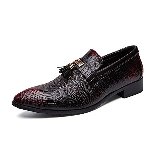 HILOTU Herren Atmungsaktive Oxford Schuhe Formalen Stil Mikrofaser Lederschuhe Persönlichkeit Textur Klassische Quaste Wanderschuhe (Color : Schwarz, Größe : 40 EU)