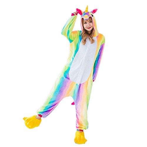 RUNFON Unicornio pijama ,Flanela multicolor Unicornio Pijama,Unicornio pijama con las estrellas diseño,Disfraz para adultos, unisex, carnaval, Halloween y Navidad Pijama Cosplay