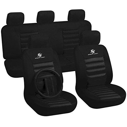 WOLTU AS7267 Sitzbezüge Auto Schonbezüge universal Größe, mit Lenkradbezug und Gurtpolster, Sportlich, schwarz