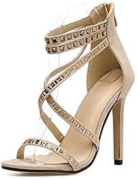 ZHZNVX El Nuevo High-Heel Shoes Primavera/Verano la Nueva Transversal ranurados de Satén con Línea de Agua con...
