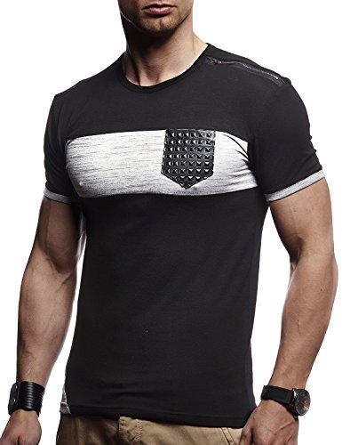 LEIF NELSON Herren Sommer T-Shirt Rundhals-Ausschnitt Slim Fit Baumwolle-Anteil | Moderner Männer T-Shirt Crew Neck Hoodie-Sweatshirt Kurzarm lang | LN780 Schwarz X-Large Lost-t-shirt Sweatshirt