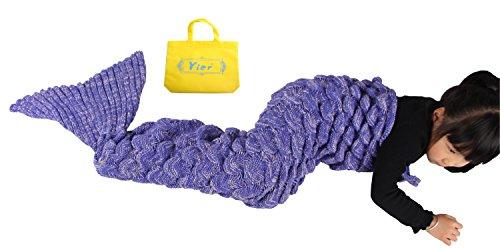 Yier® Mermaid Schwanz Kinder Decke häkeln Wohnzimmer Sofa super weiche Decken Schlafsäcke-Lila