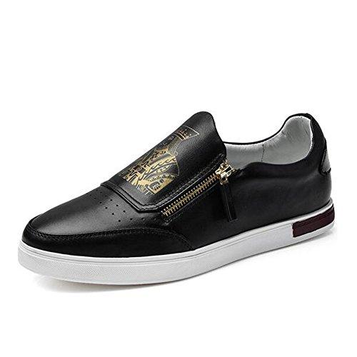 Onfly New Herren Freizeitschuhe Leder Fashion Driving Schuhe Herren Low-Top Sneakers Loafers Schuhe eu size (Farbe : Schwarz, Größe : 40) (Top Driving-schuhe)