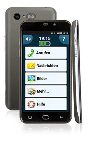 amplicomms PowerTel M9500, Extra lautes Komfort-Smartphone mit Notruffunktion, Android 5.1, Bluetooth, 5 Zoll, Hörgerätkompatibel, Dual-Sim