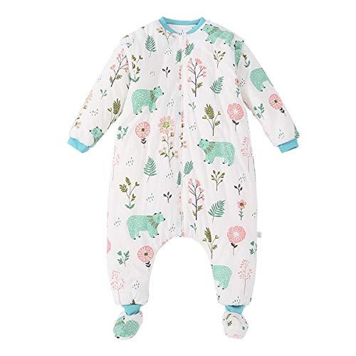 Baby schlafsack mit Beinen Warm Lined Winter Langarm Winter schlafsack mit Fuß und Baby schuhe 3,5 Tog (M/Körpergröße 80cm-95cm, weißerBär)