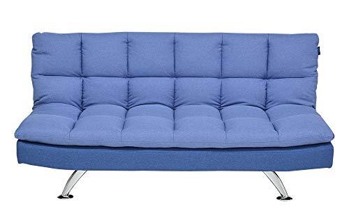 Enrico coveri contemporary divano letto 3 posti in elegante tessuto trapuntato con struttura in acciaio, perfetto per arredo salone, soggiorno e cucina (blu)