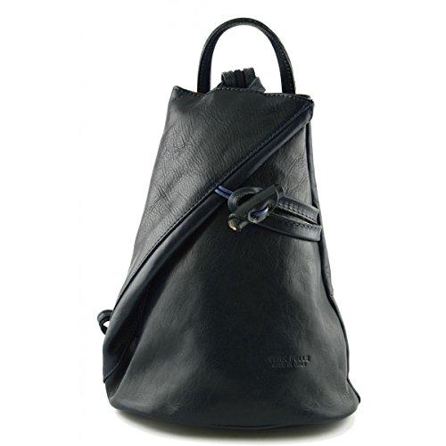 Dream Leather Bags Made in Italy toskanische echte Ledertaschen Damen Echtes Leder Rucksack Mit Träger Und Reißverschluss- Aniuk Farbe Dunkelblau - Italienische Lederwaren - Rucksack