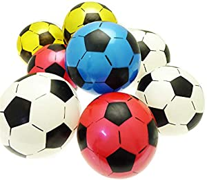 Gifts 4 All Occasions Limited SHATCHI-1115 Shatchi-5 x PVC inflable fútbol al aire libre interior playa juegos de bolas bolsa de fiesta verano juguetes 22 cm sin inflar, Multi