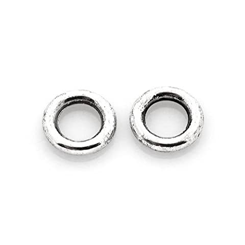 Packet of 50+ Antique Silver Tibetan 8mm Donut Spacer Beads - (HA17345) - Charming Beads