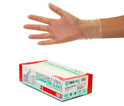 Vinylhandschuhe Gr L 1000 Stück (10 Boxen) Einweghandschuhe, Einmalhandschuhe, Untersuchungshandschuhe, Vinyl Handschuhe, puderfrei, ohne Latex, unsteril, latexfrei, disposible gloves, Large