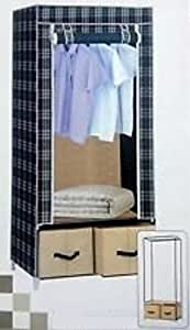 Wardrobe Foldable Cupboard Fabric Cabinet with 2 Chests - Check Print