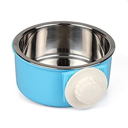ShareWe Pet Hanging Bowl 2-in-1 Removable Stainless Steel Dog Crate Bowl Food Water Hanging Bowl for Dog Cat Bird Rabbit… 1