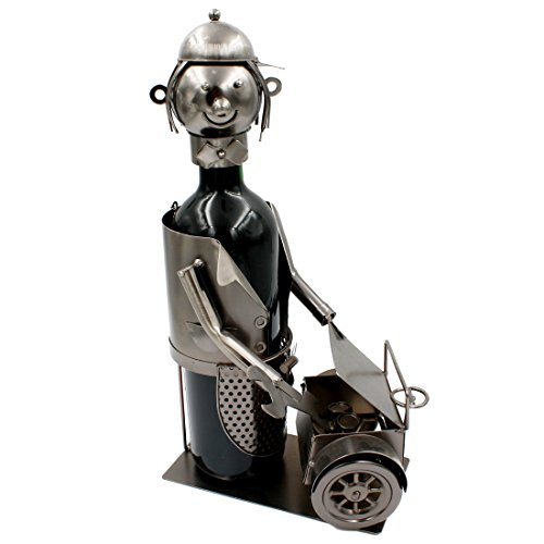 Weinflaschenhalter ~ Figur Mechaniker ~ Skulptur aus Metall