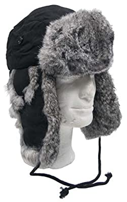 MFH Fellmütze, schwarz mit grauem Kaninchenfell, Steppfütterung M
