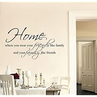 Home Friends Family Wall Art Sticker Quote Living Room/Hallway/Kitchen -100, Color : Silver, Size : Large 100cmx54cm