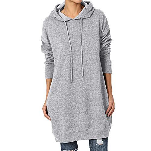 Felpe Oversize da Donna con Cappuccio a Maniche Lunghe Loose Casual Pullover Cute Hooded Felpe da Donna(Grigio,XL)