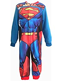 Superman Girls Boys Kids All-in-ONE Fleece Onesie Pyjamas Nightwear Comic Book Batman Marvel Avengers - Age 2-8 Years