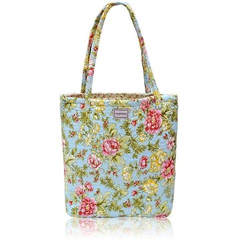 Ringarose in cotone, design floreale, reversibile, trapuntato, Borsa a tracolla, borsa per la spesa con borsa per la spesa riutilizzabile minima, motivo: fiori d'estate