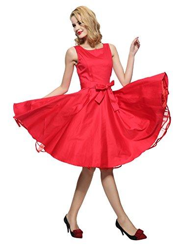 Maggie Tang Vintage Années 50Pinup Cocktail Swing Rockabilly Boule Peignoir Robe pour soirée déguisée Rouge - Rouge