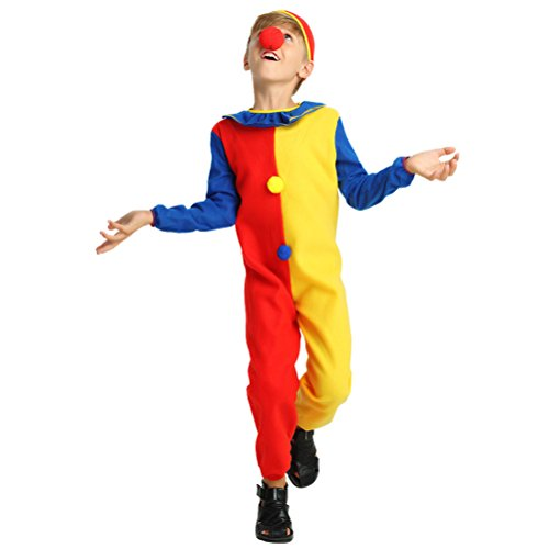 Kostüm Halloween Zirkus - LUOEM Kinder Clown Kostüm Overall Zirkus Clown Kostüm mit Hut für Karneval Halloween Maskerade Clown Dress Up Alter von 6-9 Größe M