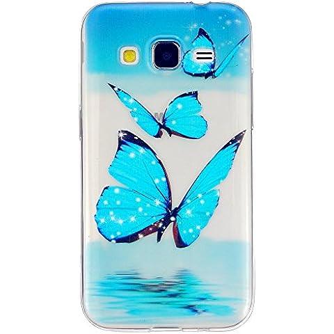 TKSHOP Custodia per Samsung Galaxy Core Prime SM-G360 Case Cover sottile Morbido Flessibile TPU Silicone Trasparente Anti-impronte digitali Anti-Scratch Bello Dipinto - blue Butterfly (Blu Farfalla)