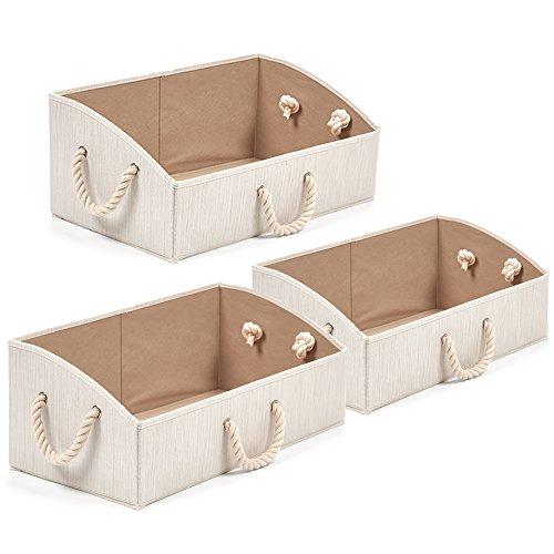 EZOWare Baumwolle Aufbewahrungsbox, Trapezoid Aufbewahrungskorb mit Starken Griffen - 3er Set (Beige)