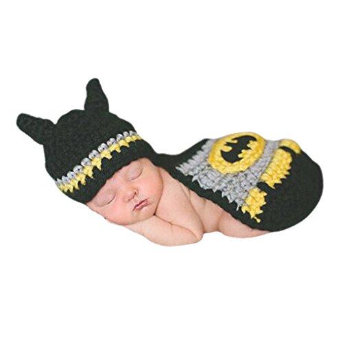 Smarstar - Disfraces Trajes Apoyo de Fotografía de Punto de Ganchilo para Bebés Recién Nacidos Niños Niñas 3 - 6 Meses - Batman - Negro