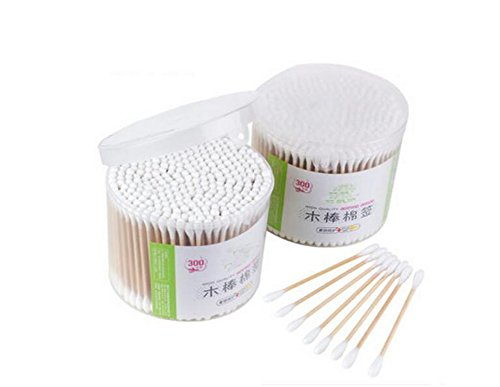 300 pcs Bois Tampons de coton avec une Pointe Case-double cotons-tiges Crabstick pour le maquillage Clean Care