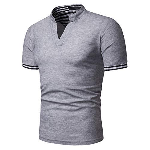 Männer Einfarbig Lässig Plaid Patchwork Sommer Slim Fit V-Ausschnitt Kurzarm Poloshirt Light Grey S - Pony Plaid Hut