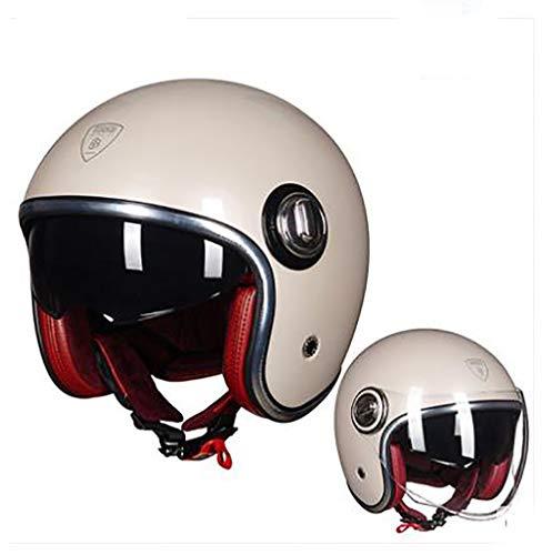 MMGIRLS Harley-Halbhelm, Vier Jahreszeiten Universal-Motorradhelm Integrierte ausziehbare Sonnenbrille Anti-Fog/Atmungsaktiv - Helles Metall Hellgrau,XL